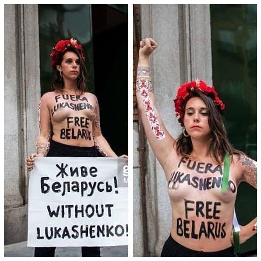 Активистка Femen разделась перед белорусским министром в Мадриде (18+)