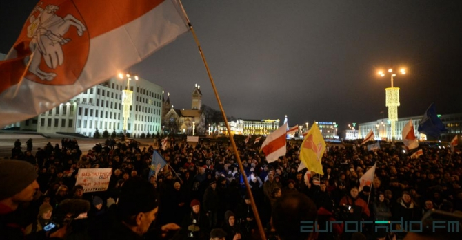 Protests in Minsk against integration with Russia