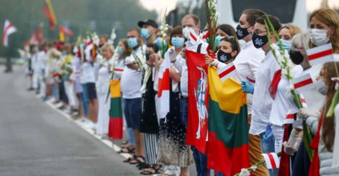 Lithuanians Form 'Freedom Way' Human Chain In Solidarity With Belarus Opposition