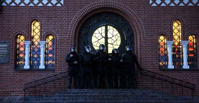 Riot Police Block Doors Of Red Church With About 100 People Inside