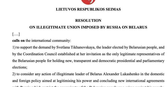 Lithuania Recognises Tikhanovskaya As Belarusian National Elected Leader